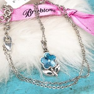 Brighton Blume Necklace Blue Crystal Flower NWT